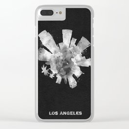 Los Angeles, California Black and White Skyround / Skyline Watercolor Painting (Inverted Version) Clear iPhone Case