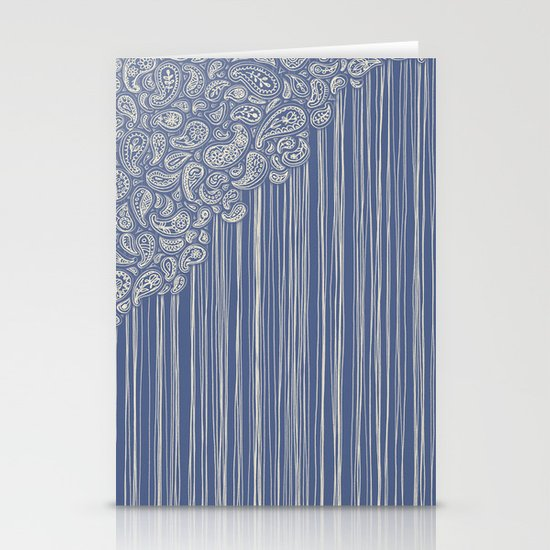 The Unraveling of Paisley Lace (in blue and cream) Stationery Cards