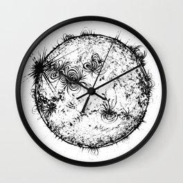 Large Sun Print, white & black solar design by Little Lark Wall Clock