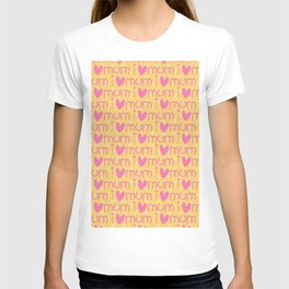 Pink yellow hand painted watercolor I love mum typography T-shirt