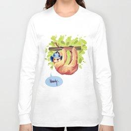 Awesome Sloth, Digitized Long Sleeve T-shirt
