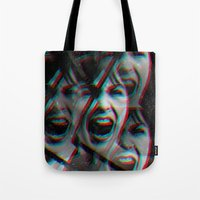 psycho Tote Bags featuring PSYCHO by Inception of The Matrix