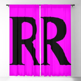 R MONOGRAM (BLACK & FUCHSIA) Blackout Curtain