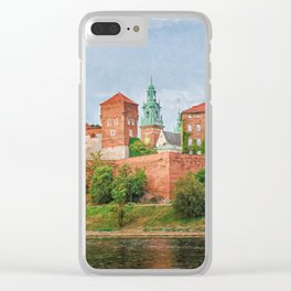 Drawing Wawel Castle and Vistula river, Krakow, Poland Clear iPhone Case