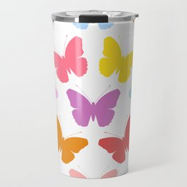 Multicoloured Butterflies Pattern Travel Mug