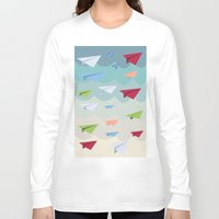 planes Long Sleeve T-shirts featuring Paper Planes by irayflo