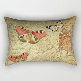 Antique Paper & Butterflies Digital Collage Rectangular Pillow