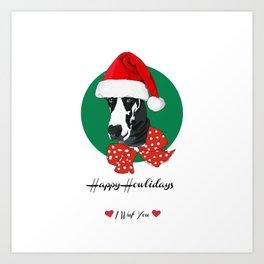 Happy Howlidays-I Wuf You Great Dane dog Art Print