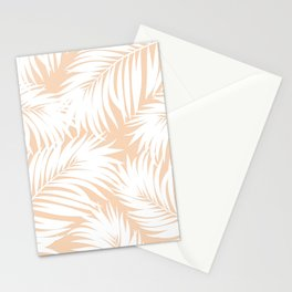 Palm Tree Fronds White on Peach Hawaii Tropical Décor Stationery Cards