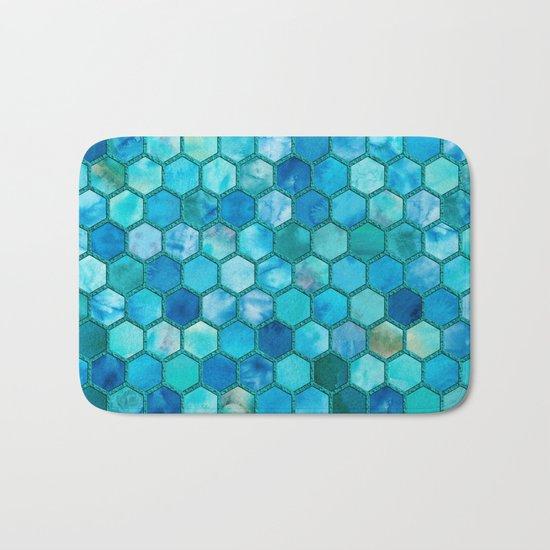 Blue aqua geometric hexagonal elegant & luxury pattern Bath Mat