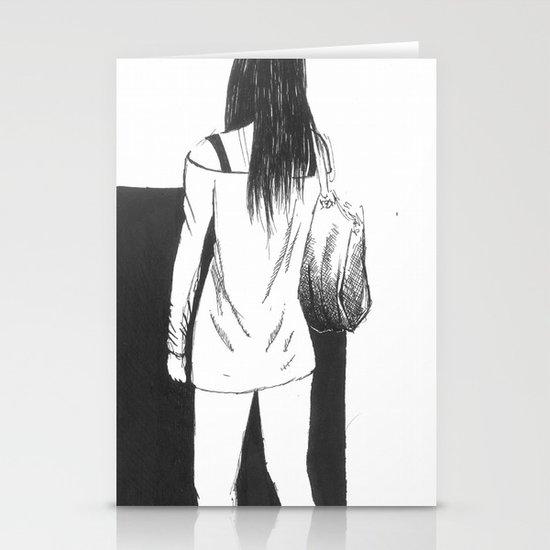 bag girl Stationery Cards