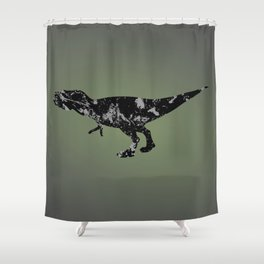 T-rex - black and gray Shower Curtain