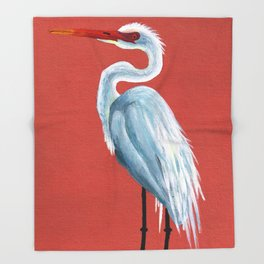 White Heron Throw Blanket