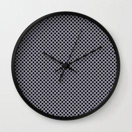 Lilac Gray and Black Polka Dots Wall Clock