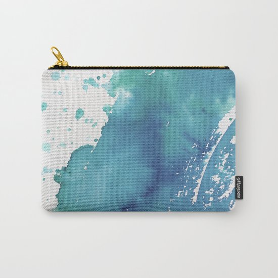 BLUE + GREEN WATERCOLOUR LAYER AND SPLATTER Carry-All Pouch