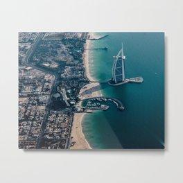 aerial photography of Burj Al-Arab near seashore Metal Print
