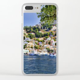 Symi island in Greece. Traditional houses. Sunny day with blue sky and sea. Clear iPhone Case