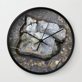 Rocks in Water - Stone in Japanese River Wall art - Photography of Nature Wall Clock