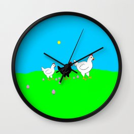 Hens and eggs Wall Clock