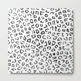 Black white hipster watercolor animal print Metal Print