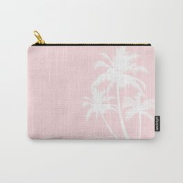 Millennial Pink White Tropical Palm Hawaii Carry-All Pouch