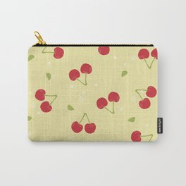 Red cherries in a yellow background Carry-All Pouch