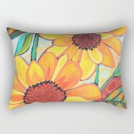 Three Sunflowers Rectangular Pillow