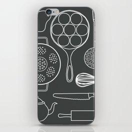 kitchen tools (white on black) iPhone Skin