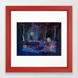 Meeting in the Sakura Woods Framed Art Print