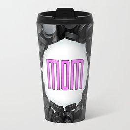 Hockey Mom / 3D render of hundreds of hockey pucks framing Mom text Travel Mug