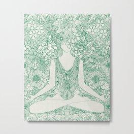lotus garden vintage green Metal Print