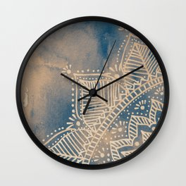 Mandala flower on watercolor background - pink and blue Wall Clock