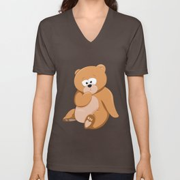 Cute Bear Relaxing Under a Tree Unisex V-Neck