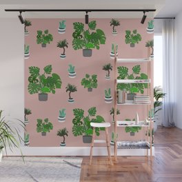 Monstera, yucca and cacti pattern Wall Mural