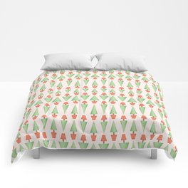 Seamless vector pattern of triangular topiary trees in terra cotta pots Comforters