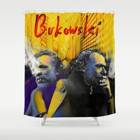 bukowski Shower Curtains featuring Charles Bukowski by Zmudartist