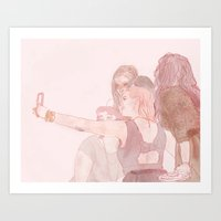 selfie Art Prints featuring selfie by rowan turner