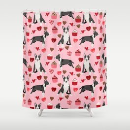 Bull Terrier valentines day love cupcakes hears dog breed pet friendly gifts Shower Curtain