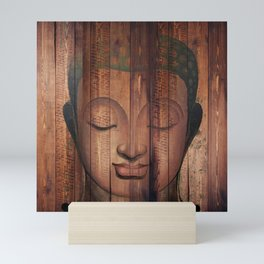 Wood budha Mini Art Print