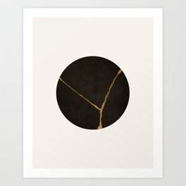 Kintsugi Japanese Minimalist Abstract Print, Black & Gold Art Print