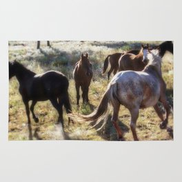 Wild Mustangs in a Group Rug