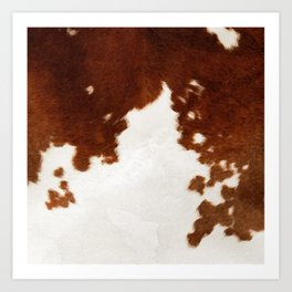 brown cowhide watercolor Art Print
