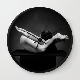 7487-MAK Flexible Nude Woman Erotic Black & White Naked Girl on Platform Wall Clock