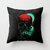 hunting Throw Pillows featuring Treasure Hunting by nicebleed