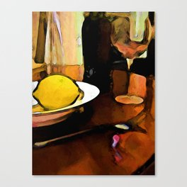 Still Life with a Lemon, Wine, a Glass and a Fork Canvas Print