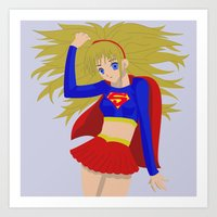 supergirl Art Prints featuring Supergirl by revolver74