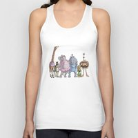 animal crew Tank Tops featuring Animal Mural Crew by Michael Jared DiMotta Illustrations