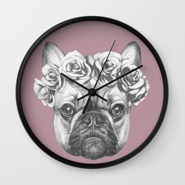 Pink Frenchie Wall Clock