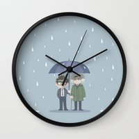 pacific rim Wall Clocks featuring Pacific Rim - Rainy Day by feriowind