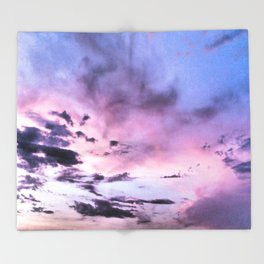 fly up to the blue pink sky Throw Blanket